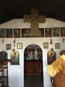 Inside a roadside Greek Orthodox chapel--unlocked, unmonitored and perfect for the traveling pilgrim