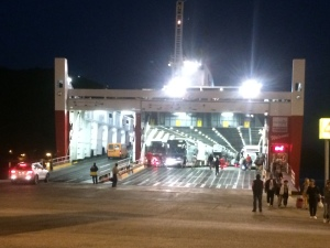Dis-embarking from the ferry in early morning hours