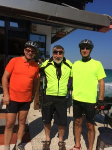 Nick, Brian and Nick in Platamora before riding a few kilometers together