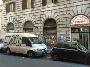 Typical graffiti in downtown Rome.