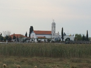 The monastery on the small island in the trapped sea