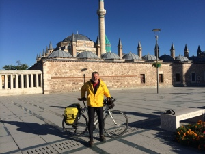 Arriving at Rumi's Tomb in Turkey after a seven-week cycling pilgrimage