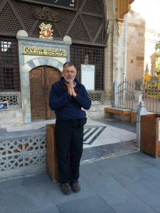 In front of museum holding Rumi's Tomb--no pictures allowed inside