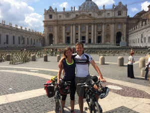 German cyclists arriving at the Vatican