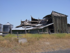 Old homesteads that have given into the weight of time, gravity and change, Idaho, 2011